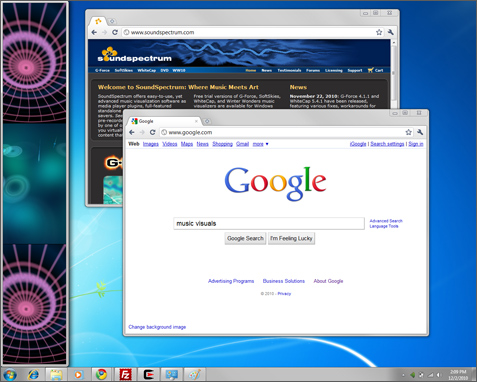 v-bar on a desktop with browser windows open